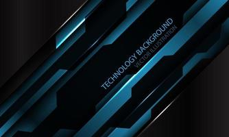 abstrakte blaue schwarze metallische Cyberfuturistische Schrägstrichfahnenentwurf moderne Technologiehintergrundvektorillustration. vektor