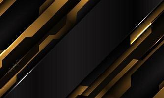 abstrakte gelbe schwarze metallische Cyber-futuristische Schrägstrichfahnenentwurf moderne Technologiehintergrundvektorillustration. vektor