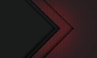 abstrakt röd hexagon mesh ljusgrå pilriktning med tomt utrymme design modern futuristisk teknik bakgrund vektorillustration. vektor