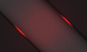 abstrakt röd hexagon mesh mönster ljus snedstreck på grå design modern futuristisk teknik bakgrund vektorillustration. vektor