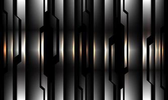abstrakt silver svart krets mönster gult ljus design modern futuristisk teknik bakgrund vektorillustration. vektor