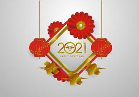 kinesiskt nyår 2021 med blomma, lykta och moln designvektor vektor
