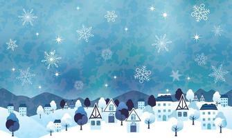 nahtlose hügelige Winterlandschaftsillustration mit einem friedlichen Dorf und Textraum. horizontal wiederholbar. vektor