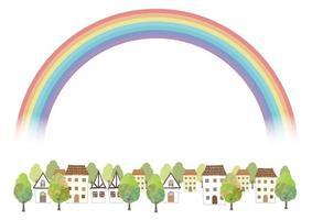 idyllisches Aquarellstadtbild mit einem Regenbogen lokalisiert auf einem weißen Hintergrund. Vektorillustration mit Textraum. vektor