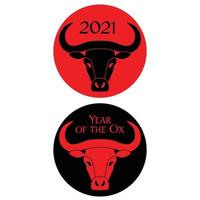 rotes schwarzes Jahr der Ochsenchinesischen Neujahrskreisgrafiken vektor