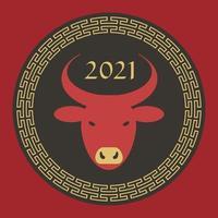 röd svart solbränna 2021 år av oxen kinesiska nyår cirkel grafik vektor