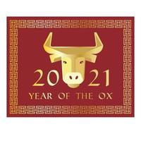 rött guld 2021 år av oxen kinesiska nyåret rektangulär grafik vektor