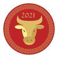 rödbrun 2021 år av oxens kinesiska nyårscirkelgrafik vektor