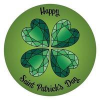 glad saint patricks dag smaragd shamrock hjärta cirkel grafik vektor