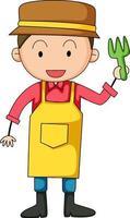 liten trädgårdsmästare doodle seriefigur