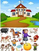 Schulszene mit isolierten Zeichentrickfiguren und Objekten vektor