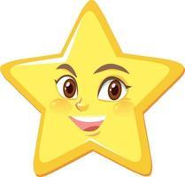 Sternkarikaturfigur mit glücklichem Gesichtsausdruck auf weißem Hintergrund