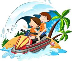 Kinder fahren einen Jetski mit Strandelementen