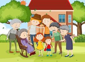 familjemedlem hemma utomhus scen