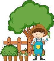 små barn seriefigur i trädgården