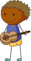 süßer Junge, der akustische Gitarre Gekritzel-Zeichentrickfigur isoliert spielt