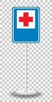 Verkehrszeichen des roten Kreuzes des Krankenhauses mit lokalisiertem Stand vektor