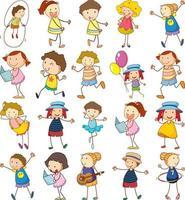 Set von verschiedenen Kindern im Doodle-Stil vektor