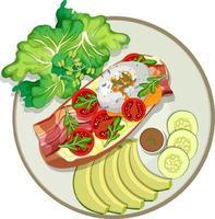 Draufsicht auf Frühstücksgericht isoliert