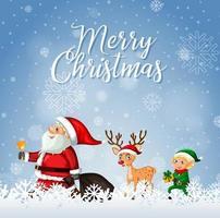 god jul teckensnitt med jultomten och renar