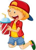 glad pojke seriefiguren håller en drink plast kopp vektor
