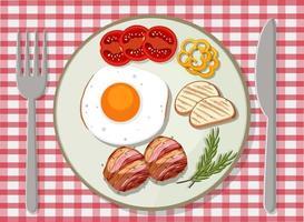Draufsicht auf das Frühstück auf dem Tisch