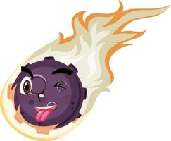 Flammenmeteor-Zeichentrickfigur mit glücklichem Gesichtsausdruck auf weißem Hintergrund