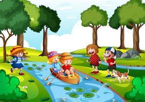 två barn ror båten vid vattenfall med sina vänner på vit bakgrund vektor