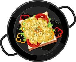 ovanifrån av frukost i pannan isolerad