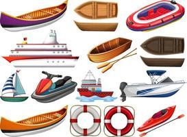 Satz verschiedene Arten von Booten und Schiff lokalisiert auf weißem Hintergrund vektor