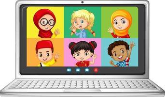 studentvideochatt online-skärm på bärbar dator på vit bakgrund