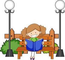 niedliches Mädchen, das Buch-Gekritzel-Zeichentrickfilmfigur mit Parkelementen liest