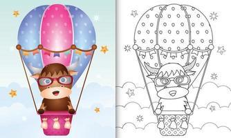 Malbuchschablone für Kinder mit einem niedlichen Büffel auf Heißluftballon vektor