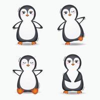 söt pingvinsamling i barns stiluppsättning vektor