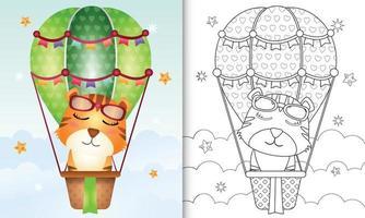 Malbuchschablone für Kinder mit einem niedlichen Tiger auf Heißluftballon vektor