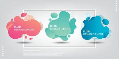 Satz abstrakter moderner grafischer Elemente. dynamische farbige Formen und Linien. abstrakte Banner mit Farbverlauf mit fließenden flüssigen Formen. vektor