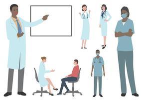 Satz flache Vektorillustration der Ärzte und Krankenschwestern lokalisiert auf einem weißen Hintergrund. vektor