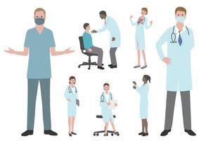 uppsättning läkare och sjuksköterskor platt vektorillustration isolerad på en vit bakgrund. vektor