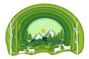 Papierkunstschnitt und Handwerksstil des grünen Waldes und des Hirsches vektor