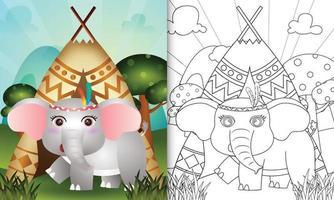Malbuchschablone für Kinder mit einer niedlichen Stammes-Boho-Elefantencharakterillustration vektor