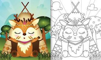 Malbuchschablone für Kinder mit einer niedlichen Stammes-Boho-Hirsch-Charakterillustration vektor