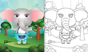 Malbuchschablone für Kinder mit einer niedlichen Elefantencharakterillustration vektor