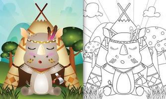 Malbuchvorlage für Kinder mit einer niedlichen Stammes-Boho-Nashorn-Charakterillustration vektor