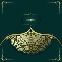 lyxig guld mandala utsmyckad bakgrund för bröllopsinbjudan, bokomslag med mandala element stil premium vektor