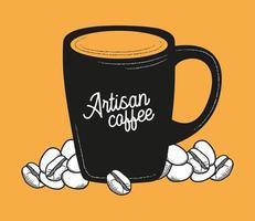 Kaffeetasse mit Bohnenvektorentwurf vektor