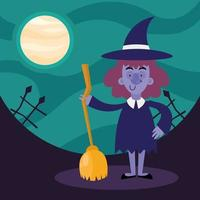 Halloween-Hexenkarikatur mit Besenvektorentwurf vektor