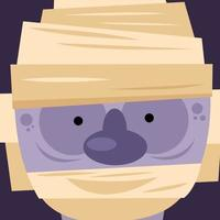 Halloween Mumie Cartoon Vektor-Design vektor