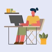 Frau mit Computer, die vom Hauptvektordesign arbeitet