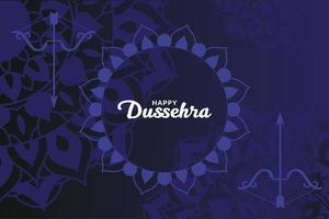 glückliche dussehra und Bogen mit Pfeil auf blauem Mandalas-Hintergrundvektorentwurf vektor