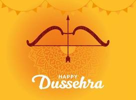 glad dussehra och pil med pilen på gul mandala bakgrundsvektordesign vektor